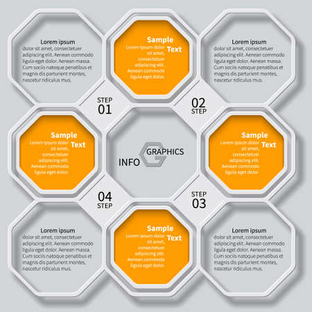 number card: vector abstract 3d paper infographic elements.Octagon infographics