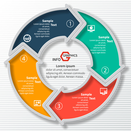 business card design: vector abstract 3d paper infographic elements.Circular infographics.Arrows elements