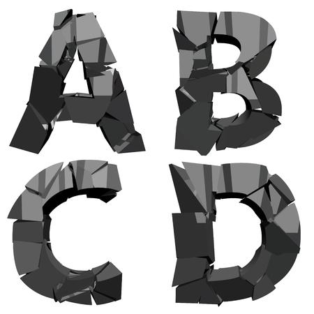 een set van vier letters gebroken