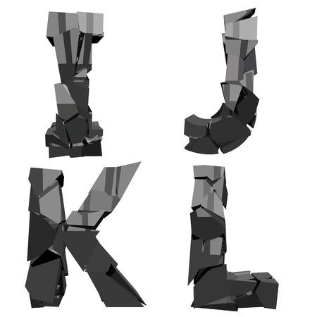 detonation: a set of four letters broken Illustration