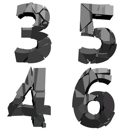 detonation: four broken military digits 3456