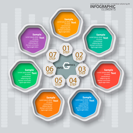 heptagon: vector abstract 3d paper infographic elements.Heptagon infographics Illustration