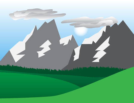 snowcapped landscape: Natural landscape with  snow-capped mountains. Vector