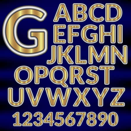 paper graphic: Vector Paper Graphic Alphabet  in metal style on a dark background Illustration
