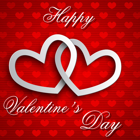 Valentines day card with heart shapes on a red background. Vector illustration