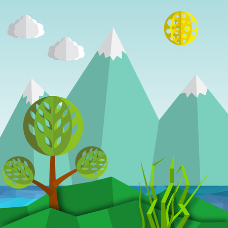 Natural mountain landscape with hills, mountains, trees, sun  and clouds. Illustration