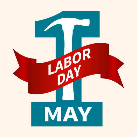 1 May. Happy Labor Day.Vector illustration with a blue number and a red ribbon on a light background.Labor Day logo Poster, banner, brochure or flyer design.Design elements icon label