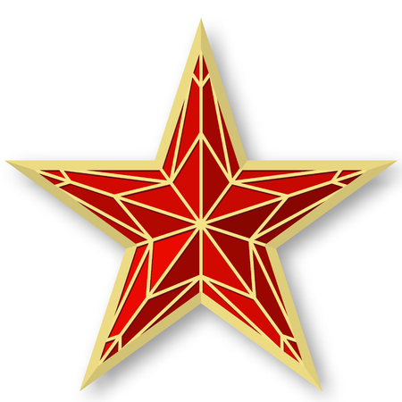Red ruby star as on the Kremlin.Vector illustration on white background.Victory Day Illustration