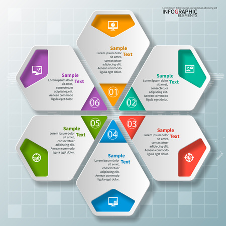 colorfull: vector abstract 3d paper infographic elements.Hexagon infographics.Honeycomb design Illustration
