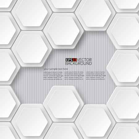 Paper white hexagons on a white with dropshadow.
