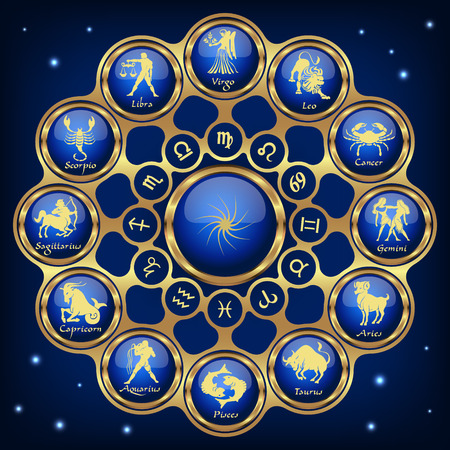Gold blue horoscope circle, zodiac Vector illustration