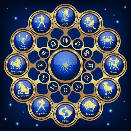 Gold blue horoscope circle, zodiac Vector illustration Stock fotó - 85934095