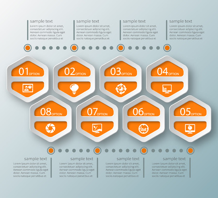 numbers abstract: vector abstract 3d paper infographic elements. Hexagon infographics in honeycomb design