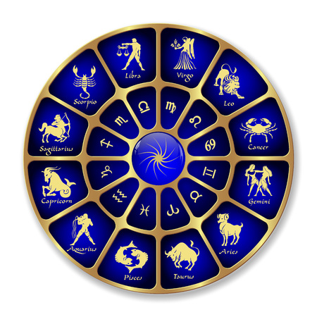 Blue gold horoscope circle.Circle with signs of zodiac.Vector illustration