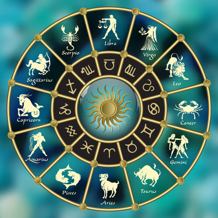 Gold-blue horoscope circle.Circle with signs of zodiac.Vector illustration