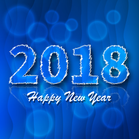 Number 2018.Blue 2018 new year greeting on a blue background Illustration