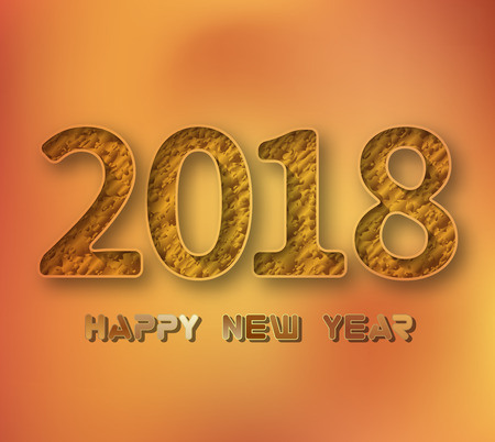 New Year 2018 .3D illustration of 2018 gold numbers on a gold background .Vector illustration