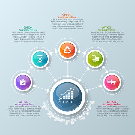 vecteur 3d abstrait papier infographiques infographies elements.Circular