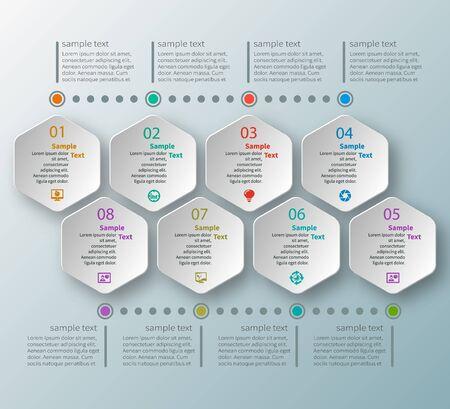 Vector abstract 3d paper infographic elements.Hexagon infographics. Honeycomb design