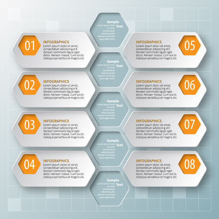 Abstract 3D paper infographic elements. Honeycomb design
