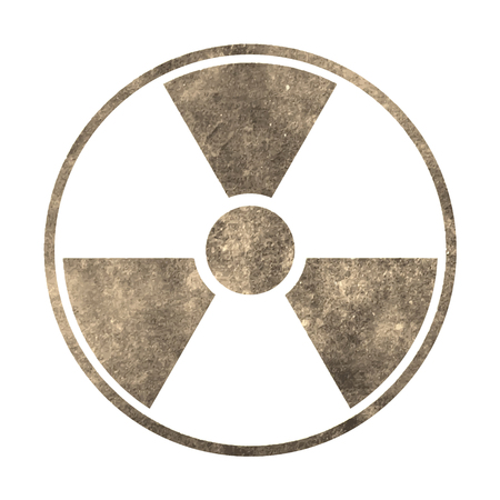 Radiation grunge symbol on on white background. Vector illustration.Style Sepia.