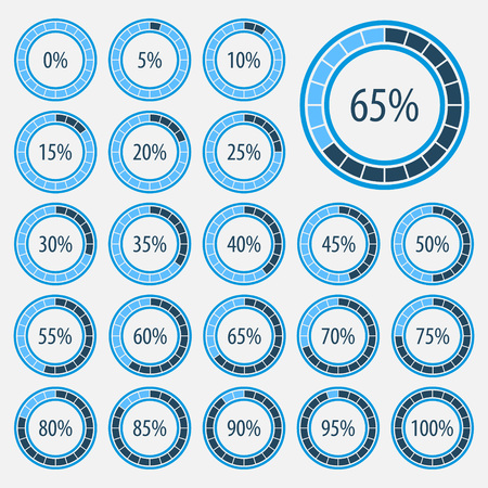 Pie charts for infographics.Set of circle percentage diagrams for web design, 0 5 10 15 20 25 30 35 40 45 50 55 60 65 70 75 80 85 90 95 100 percent.Progress bar for business infographics
