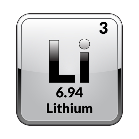 Lithium symbol.Chemical element of the periodic table on a glossy white background in a silver frame.Vector illustration.