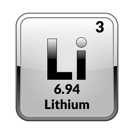 Lithium symbool. Chemisch element van het periodiek systeem op een glanzend witte achtergrond in een zilveren frame. Vectorillustratie. Vector Illustratie
