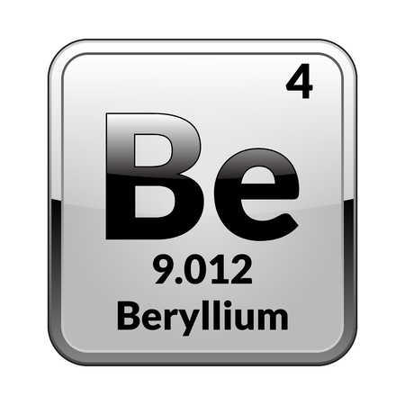 Beryllium symbol.Chemical element of the periodic table on a glossy white background in a silver frame.Vector illustration. Ilustração
