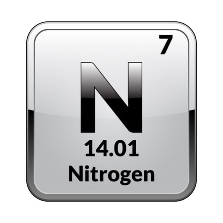 Nitrogen Symbolemical Element Of The Periodic Table On A Glossy