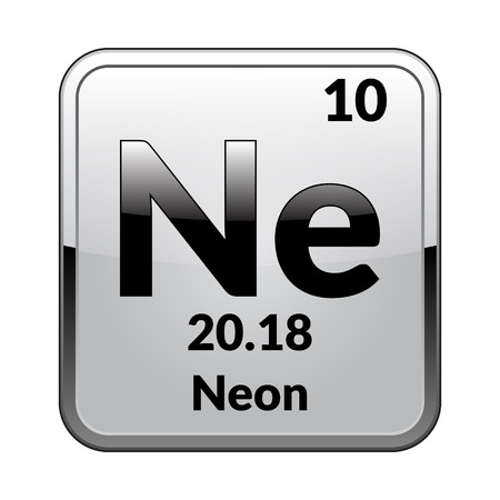 Neon Symbolemical Element Of The Periodic Table On A Glossy
