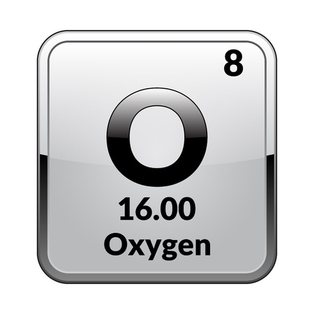 Oxygen Symbolemical Element Of The Periodic Table On A Glossy