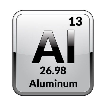 Símbolo de aluminio Elemento químico de la tabla periódica sobre un fondo blanco brillante en un marco plateado Ilustración vectorial.