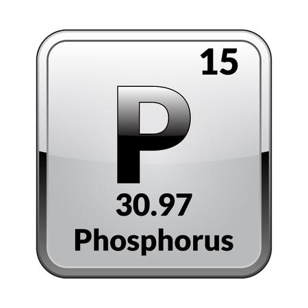 Symbole de phosphore Élément chimique du tableau périodique sur un fond blanc brillant dans un cadre argenté Illustration vectorielle.