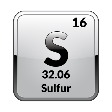 Sulfur symbol.Chemical element of the periodic table on a glossy white background in a silver frame.Vector illustration.