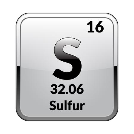 Zwavel symbool. Chemisch element van het periodiek systeem op een glanzend witte achtergrond in een zilveren frame. Vectorillustratie.