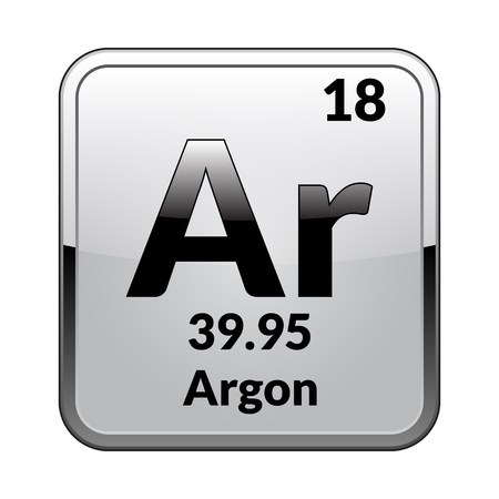 Argon Symbolemical Element Of The Periodic Table On A Glossy