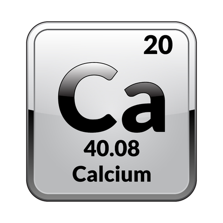 Calcium symbol.Chemical element of the periodic table on a glossy white background in a silver frame.Vector illustration.