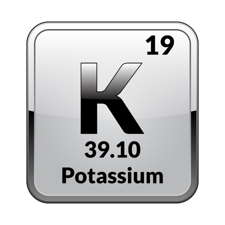 Potassium symbol.Chemical element of the periodic table on a glossy white background in a silver frame.Vector illustration.