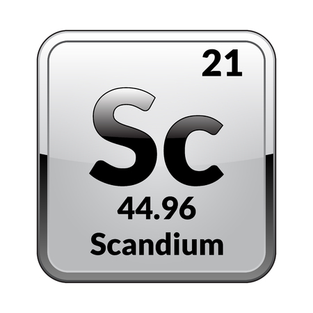 Scandium Symbolemical Element Of The Periodic Table On A Glossy