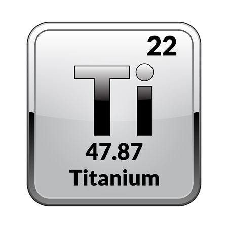 Titanium symbol.Chemical element of the periodic table on a glossy white background in a silver frame.Vector illustration. Ilustrace