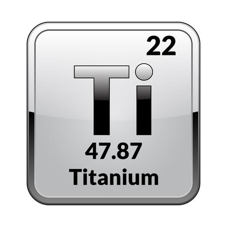 Titansymbol. Chemisches Element des Periodensystems auf einem glänzenden weißen Hintergrund in einem silbernen Rahmen. Vektorillustration. Vektorgrafik