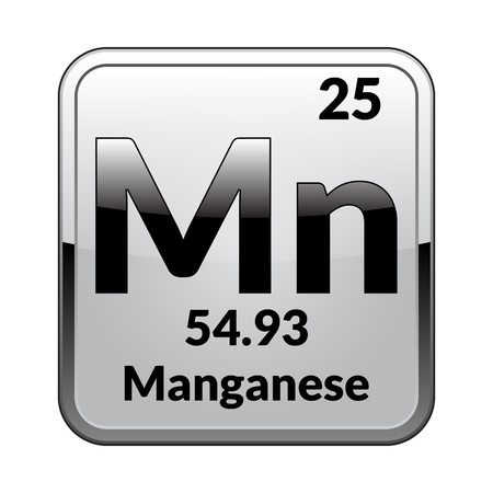 Manganese symbol.Chemical element of the periodic table on a glossy white background in a silver frame.Vector illustration. Illustration