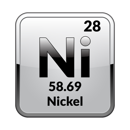 Nickel Symbolemical Element Of The Periodic Table On A Glossy