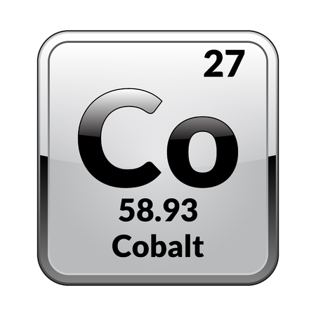Cobalt symbol.Chemical element of the periodic table on a glossy white background in a silver frame.Vector illustration. Vectores