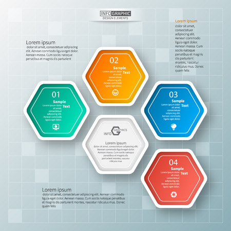 vector abstract 3d paper infographic elements.Hexagon infographics.Honeycomb design 矢量图像