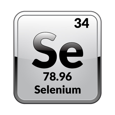 Selenium symbol.Chemical element of the periodic table on a glossy white background in a silver frame.Vector illustration.