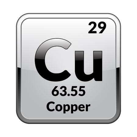 Símbolo de cobre Elemento químico de la tabla periódica sobre un fondo blanco brillante en un marco plateado Ilustración vectorial.