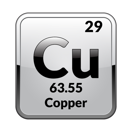 Copper symbol.Chemical element of the periodic table on a glossy white background in a silver frame.Vector illustration.