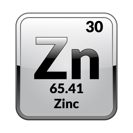 Zinc symbol.Chemical element of the periodic table on a glossy white background in a silver frame.Vector illustration.